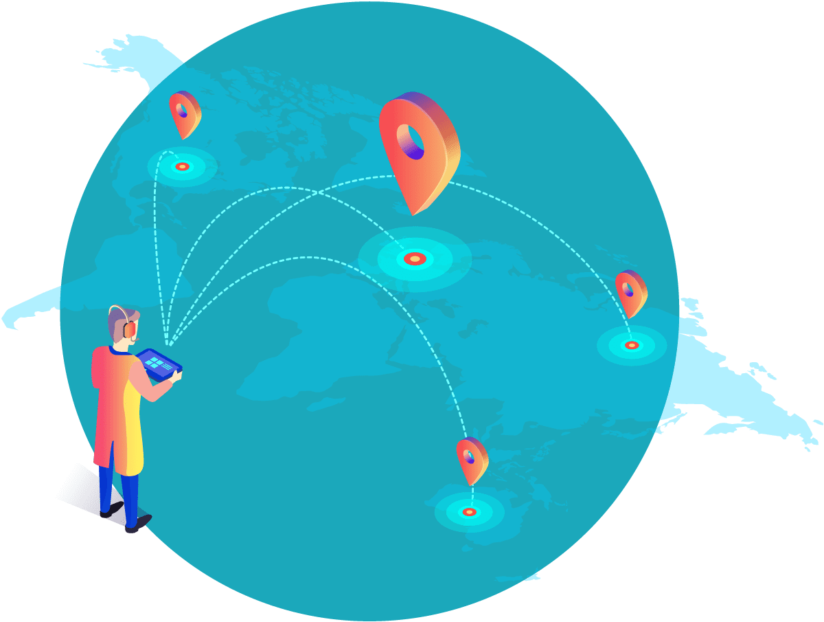 Go Digital and Reach Multiple Location Graphic Icon