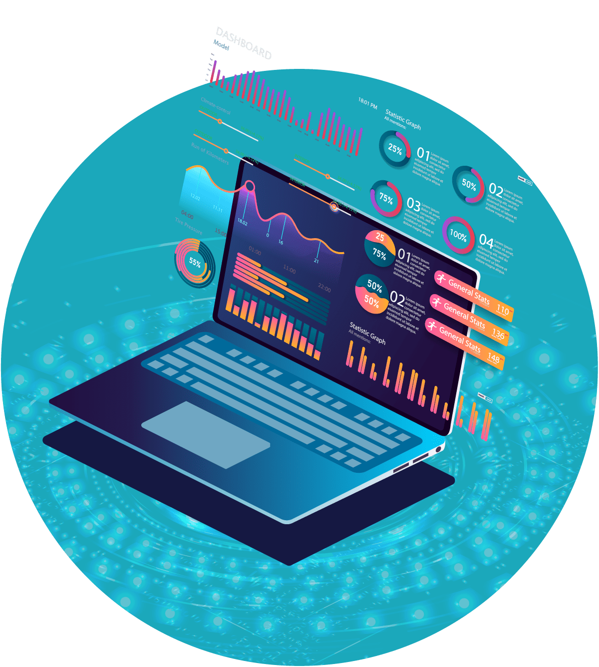 Laptop with Analytics Data Graphics